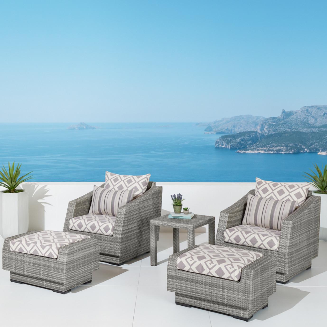 Cannes™ 5pc Club Chair & Ottoman Set - Wisteria Lavender