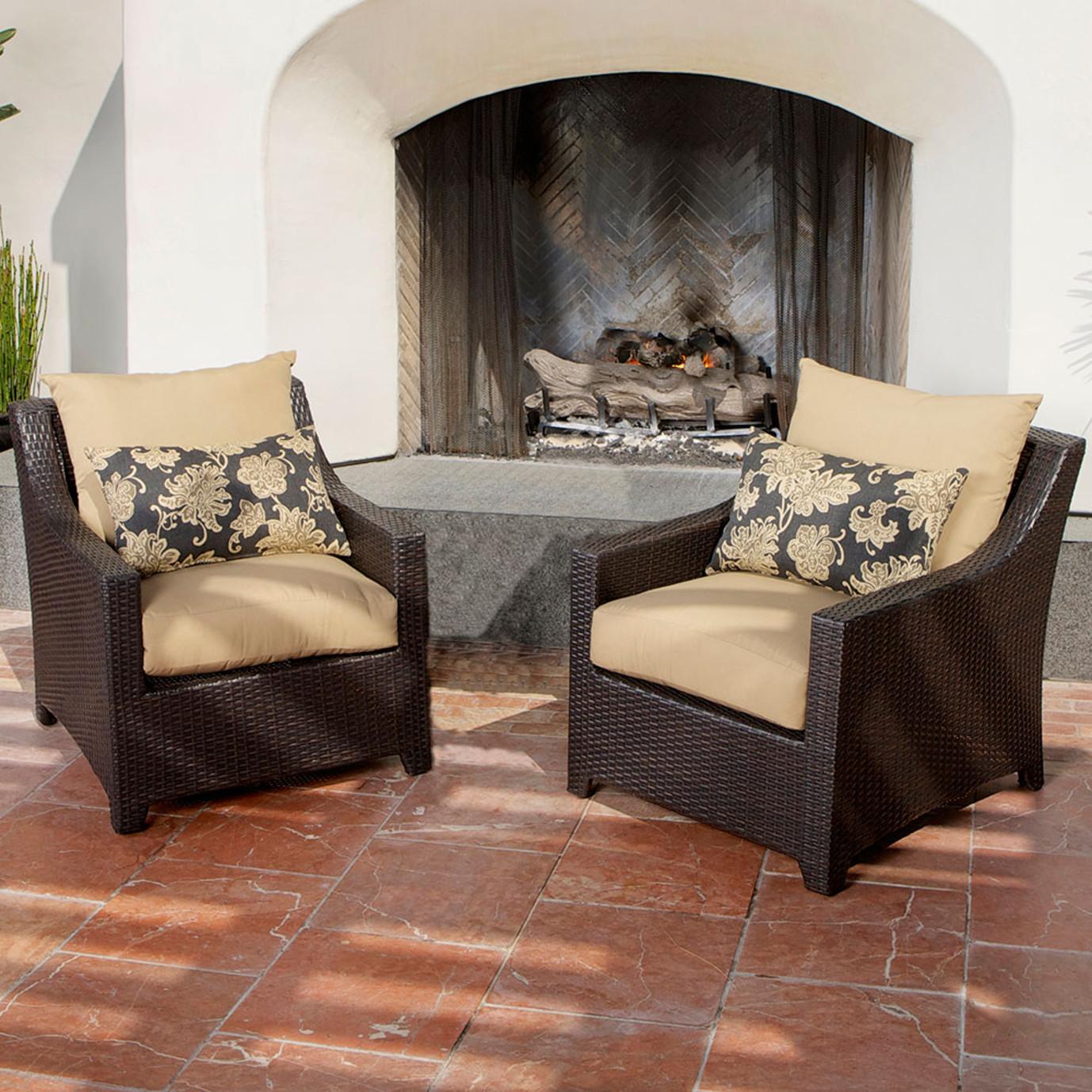 Deco 5pc Club Chair and Ottoman Set - Delano Beige