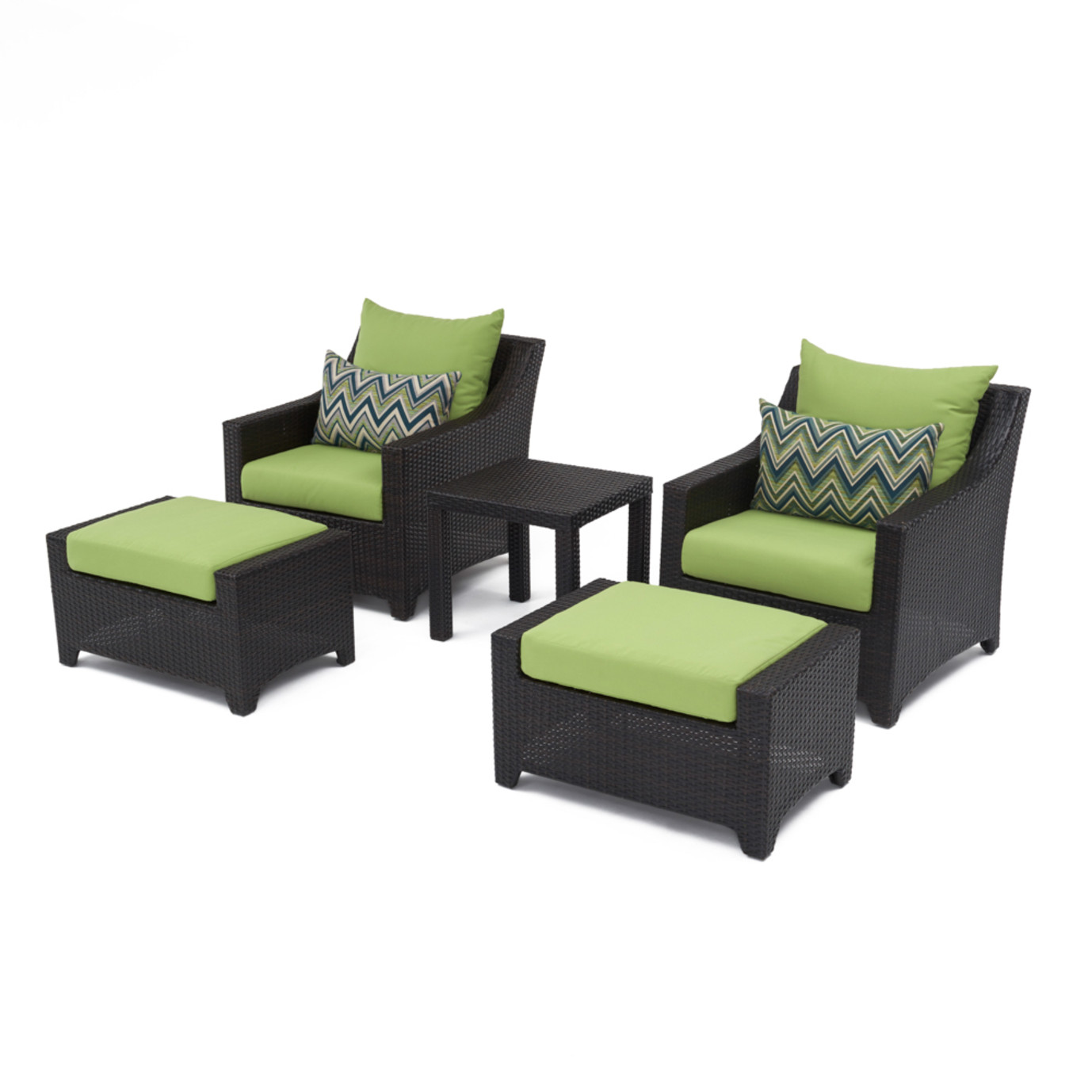 Deco™ 5 Piece Club Chair and Ottoman Set - Ginkgo Green