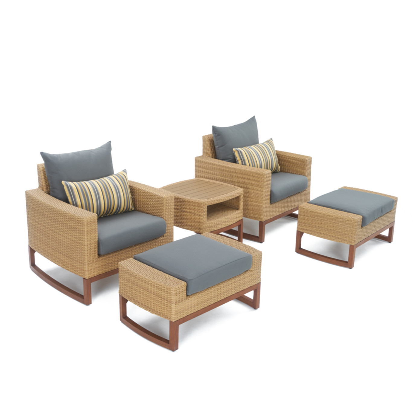 Mili™ 5pc Club Chair & Ottoman Set - Charcoal Gray