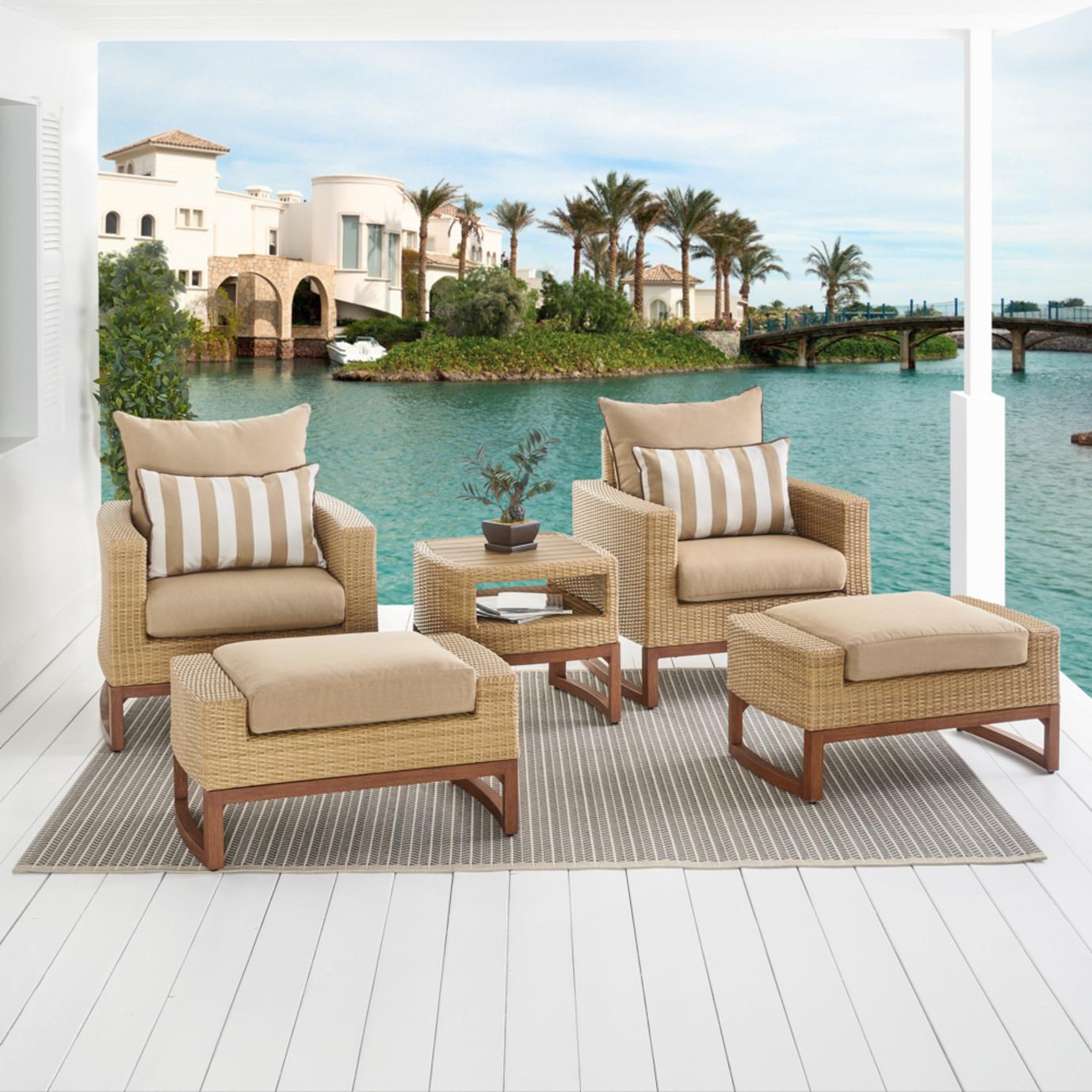 Mili™ 5pc Club Chair & Ottoman Set - Maxim Beige