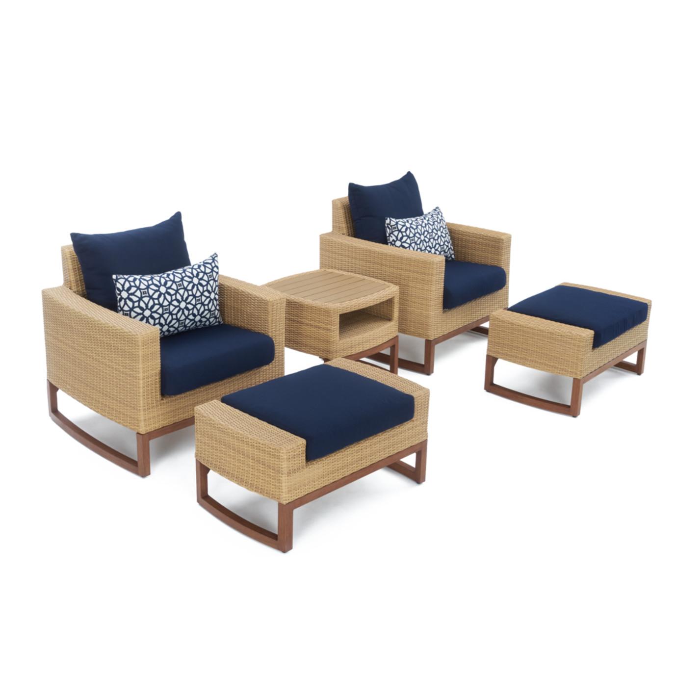 Mili™ 5 Piece Club Chair & Ottoman Set - Navy Blue