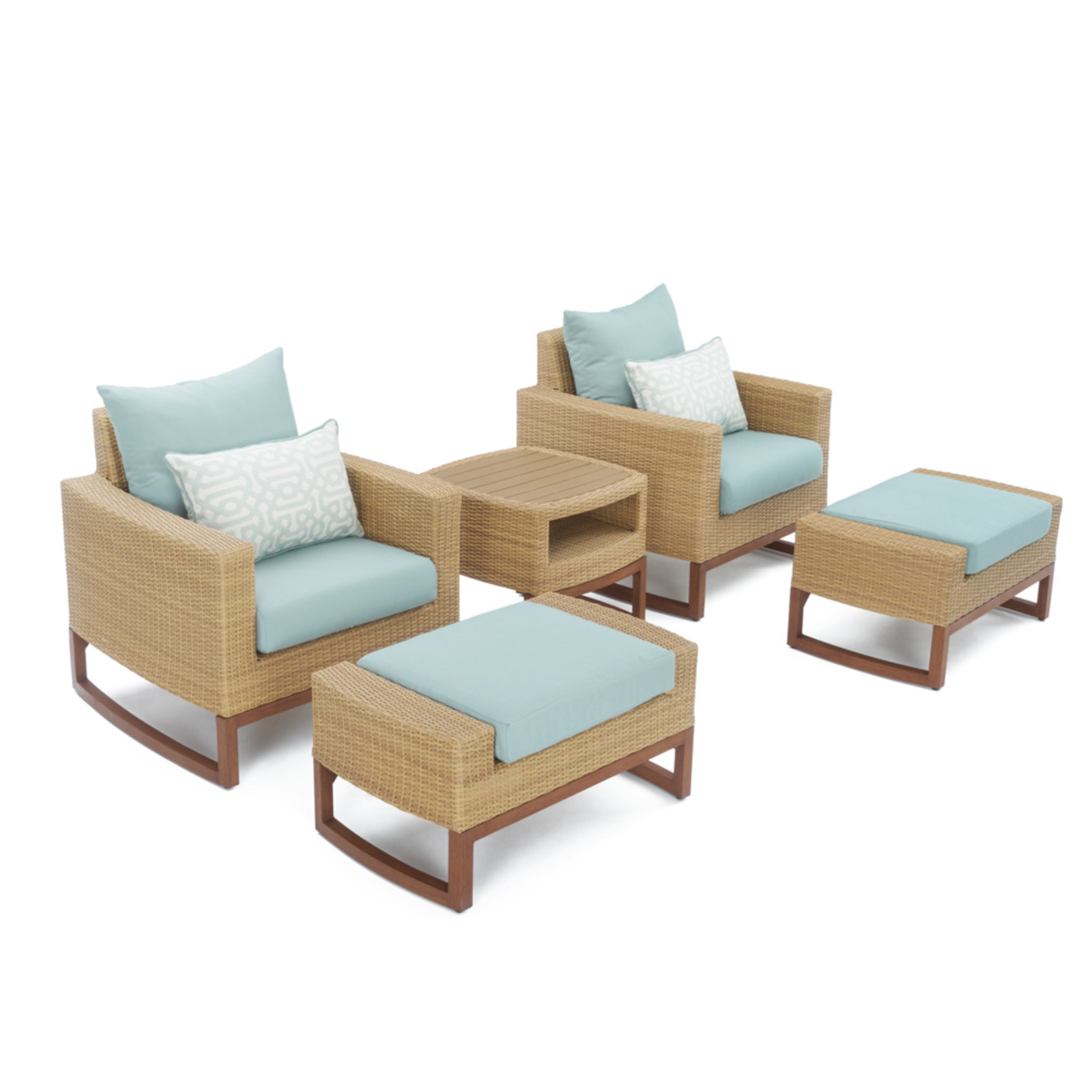 Mili™ 5pc Club Chair & Ottoman Set - Spa Blue