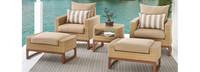 Mili™ 5 Piece Club Chair & Ottoman Set - Sunset Red