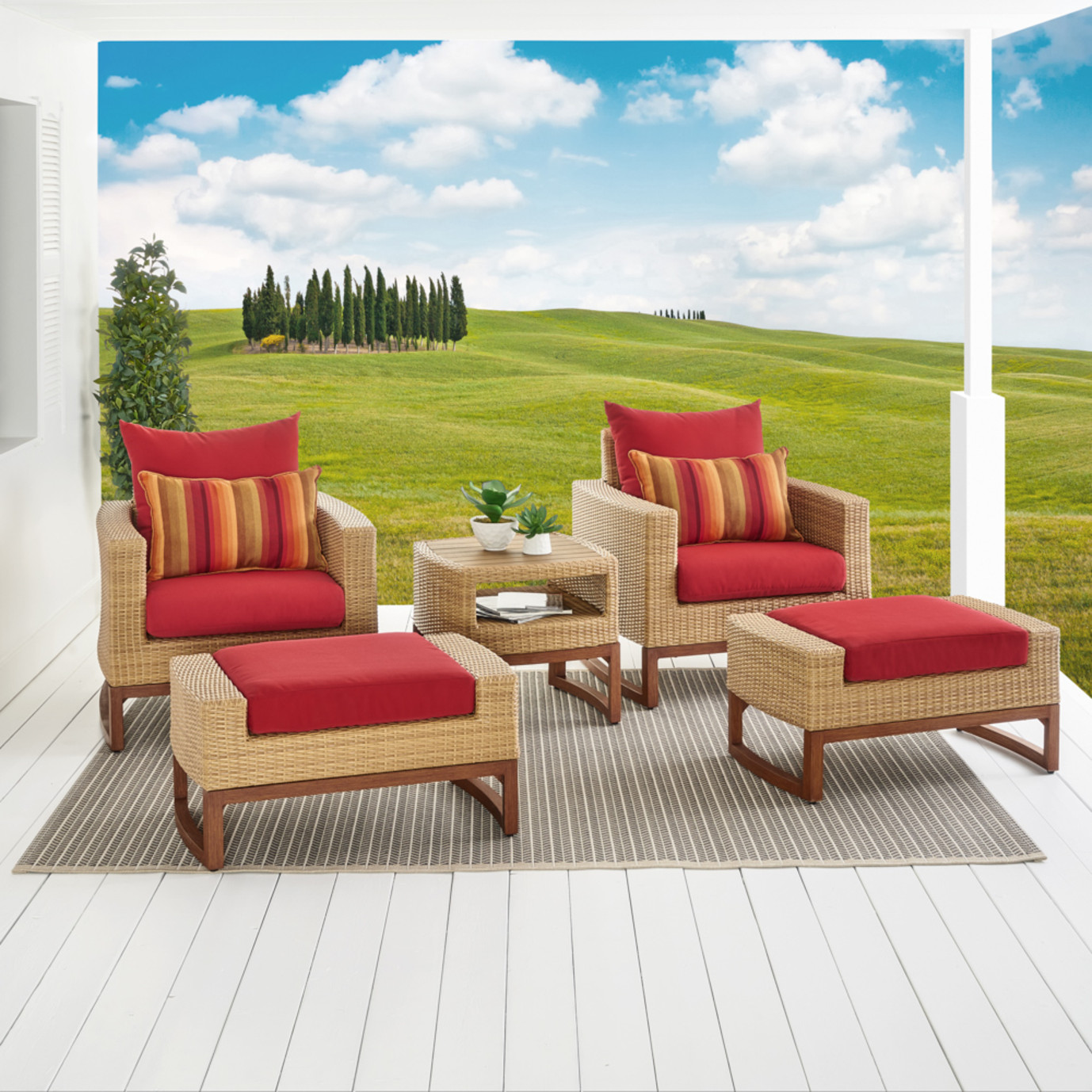 Mili™ 5pc Club Chair & Ottoman Set - Sunset Red