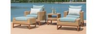 Mili™ 5 Piece Club Chair & Ottoman Set - Tikka Orange