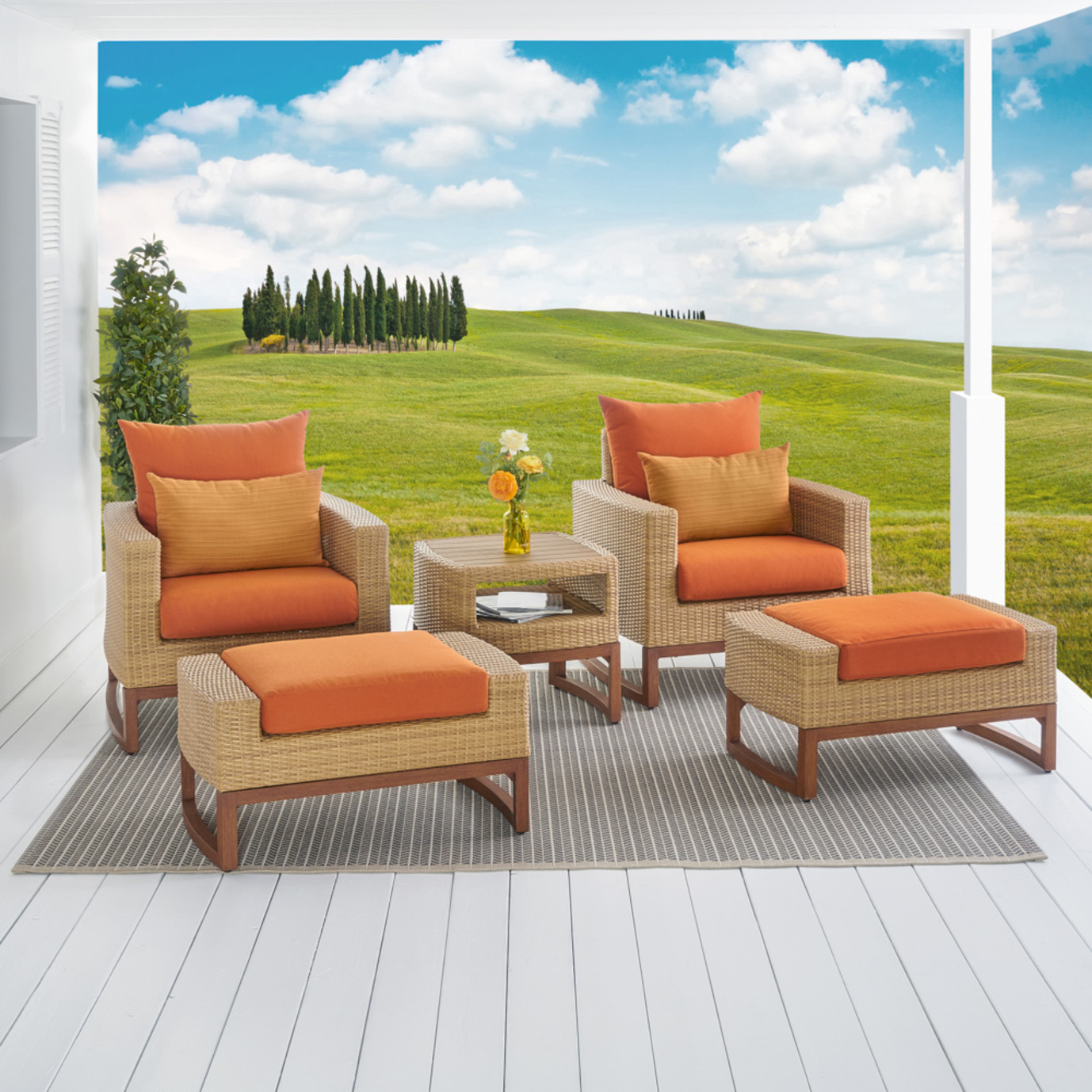 Milea™ 5pc Club Chair & Ottoman Set - Tikka Orange