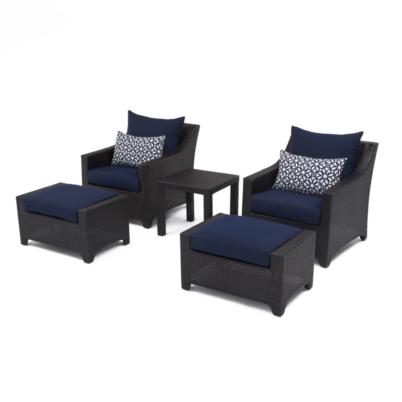 Deco 5pc club chair and ottoman set navy blue rst brands for Navy blue chair and ottoman