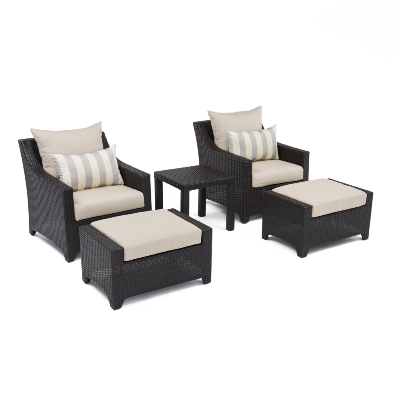 Deco™ 5 Piece Club Chair and Ottoman Set - Slate Gray
