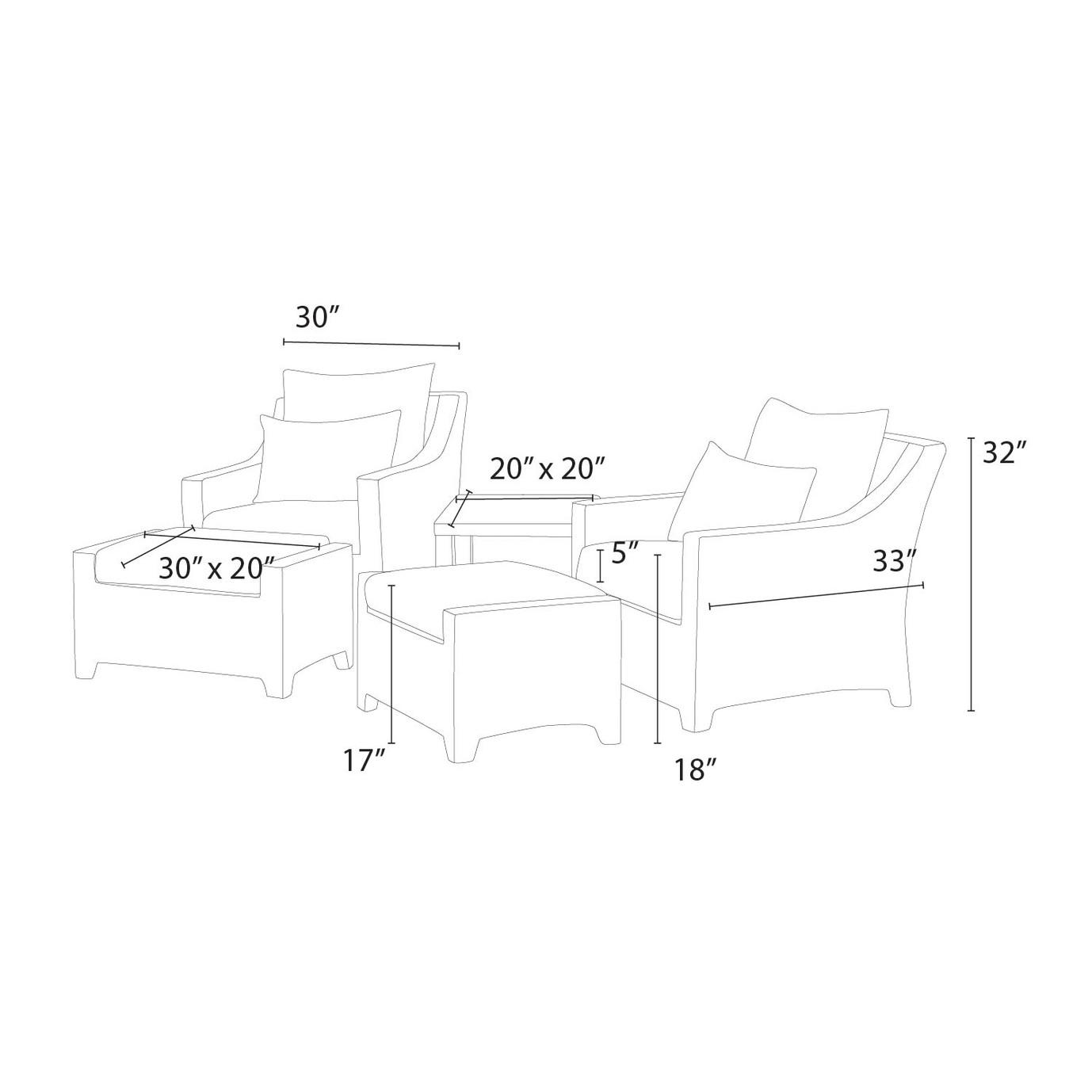 Deco™ 5pc Club Chair and Ottoman Set - Slate Grey