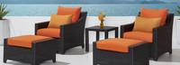 Deco™ 5 Piece Club Chair and Ottoman Set - Spa Blue