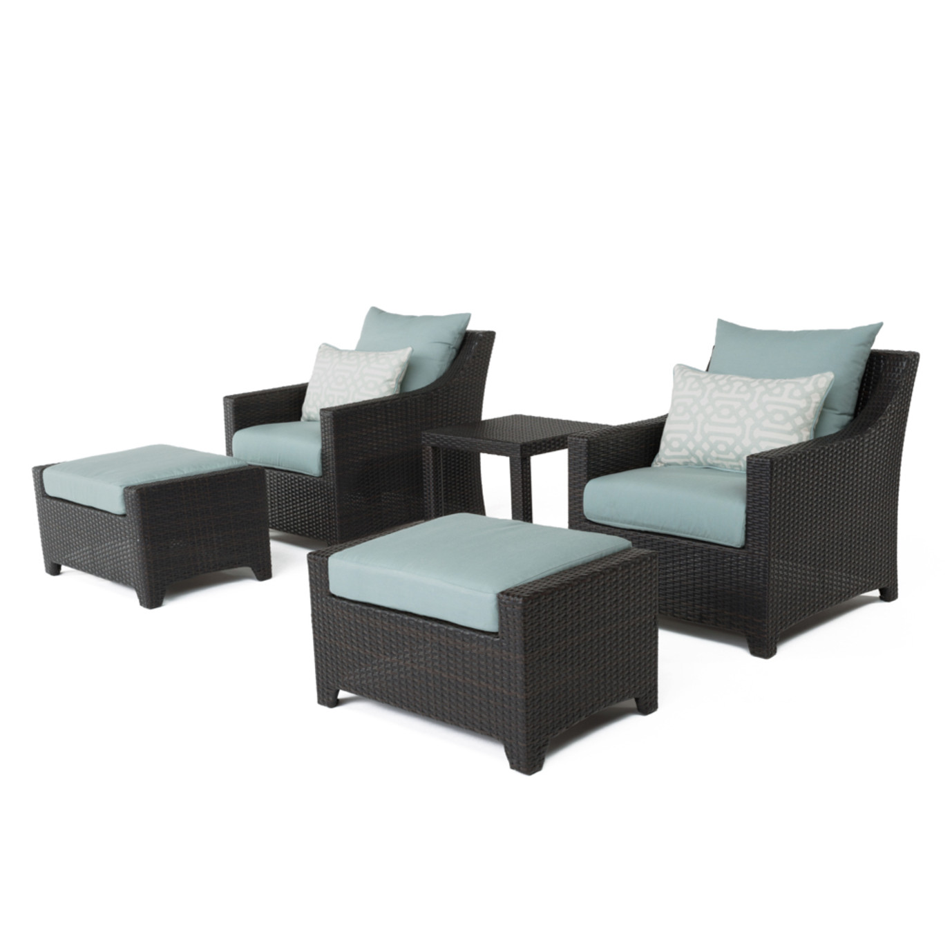 Deco™ 5pc Club Chair and Ottoman Set - Spa Blue