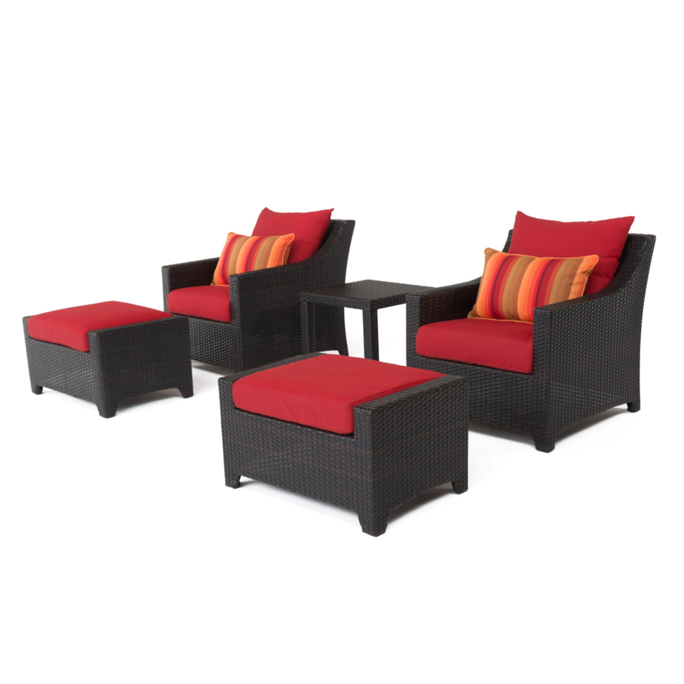Deco™ 5 Piece Club Chair & Ottoman Set - Sunset Red