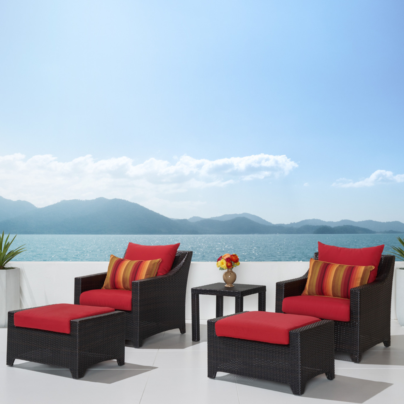 Deco™ 5pc Club Chair & Ottoman Set - Sunset Red