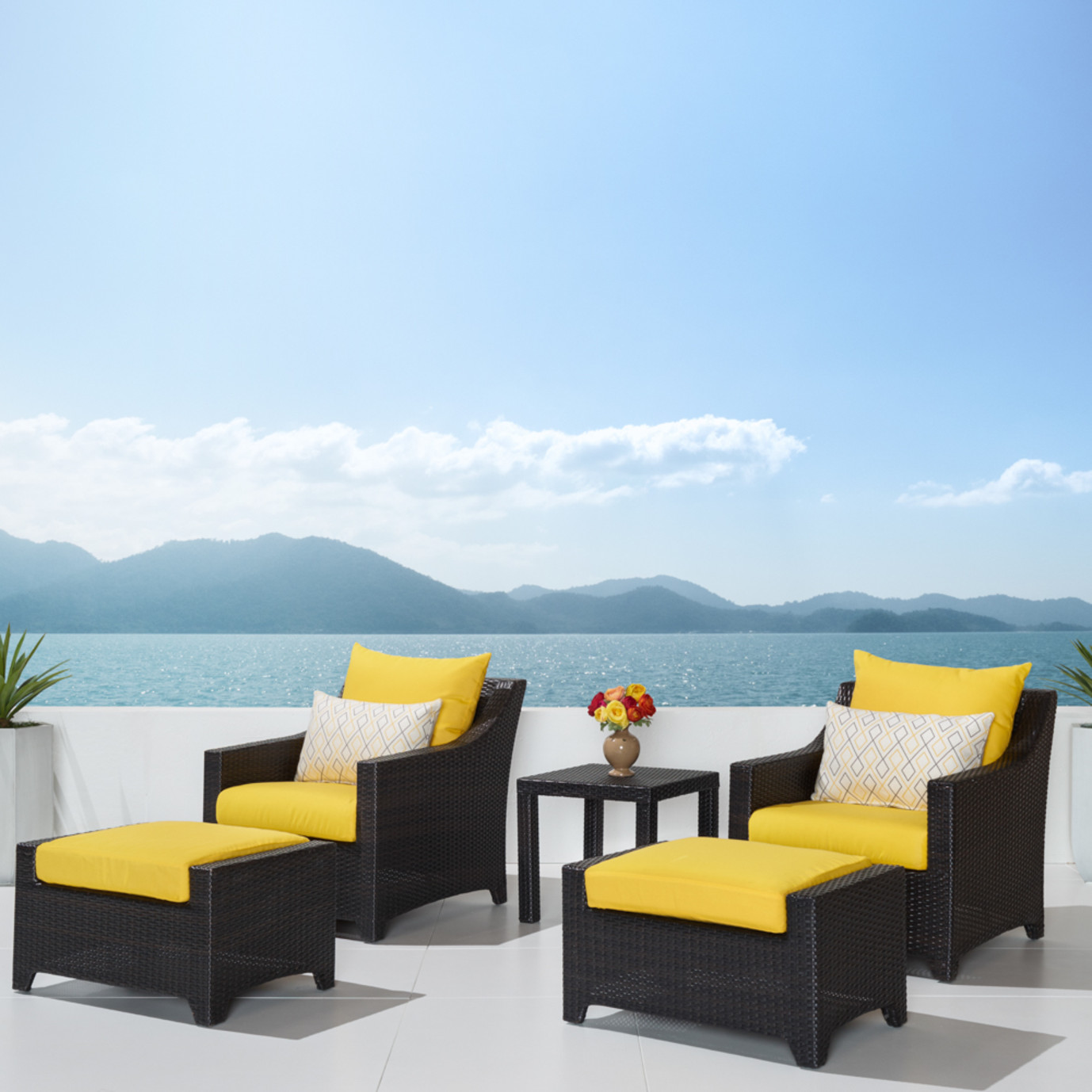 Deco™ 5pc Club Chair & Ottoman Set - Sunflower Yellow