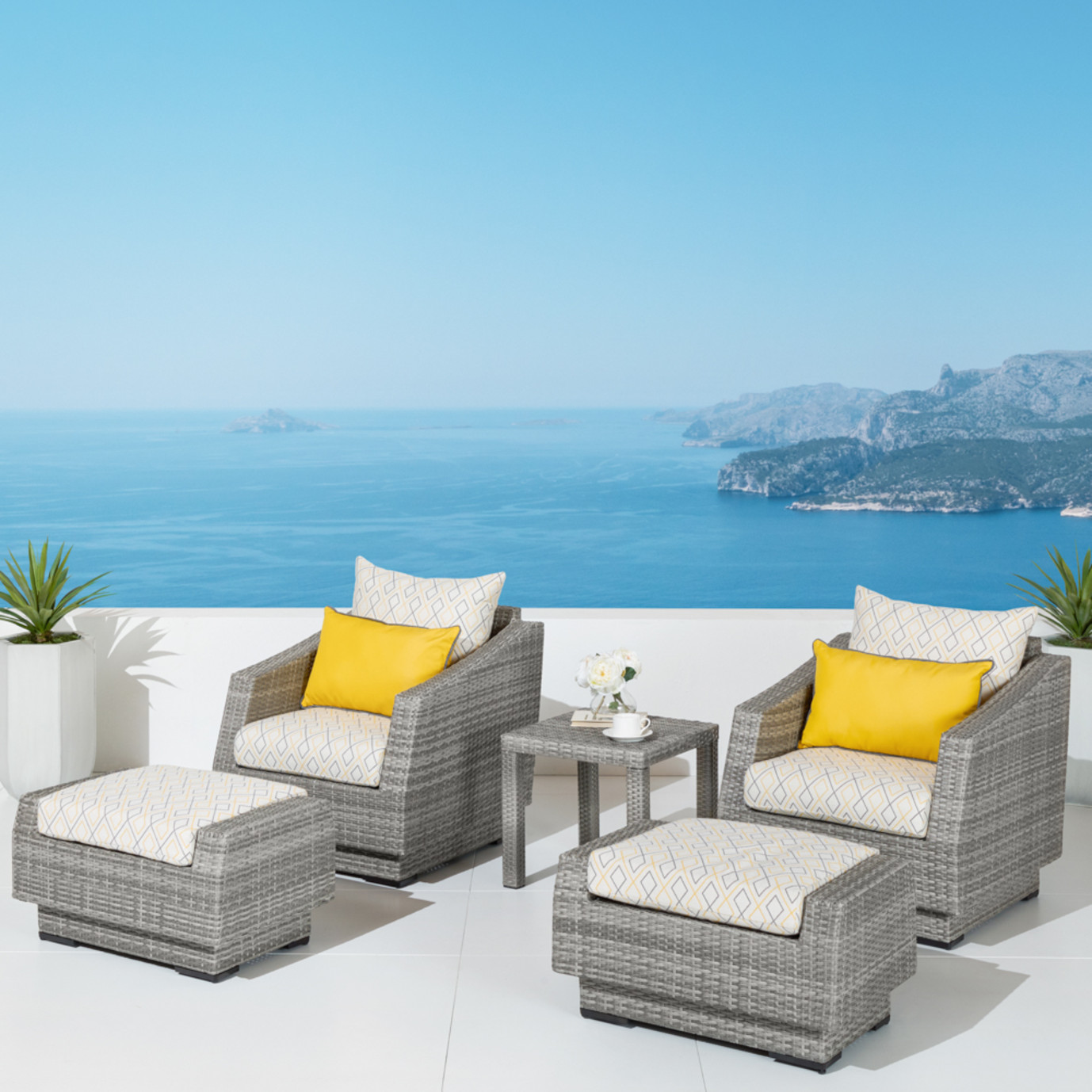 Cannes™ Design 5pc Club & Ottoman Set - Sunflower Yellow
