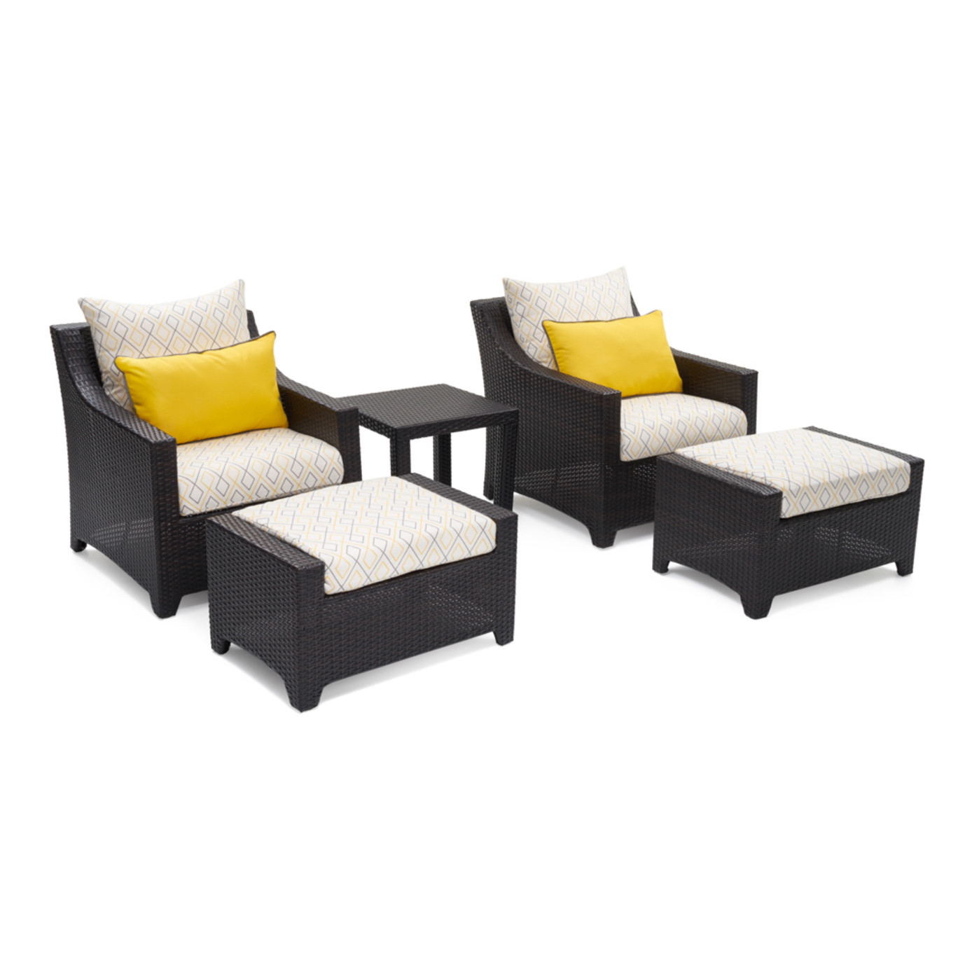 Deco™ 5pc Club Chair & Ottoman Set - Sunflower Yellow Design