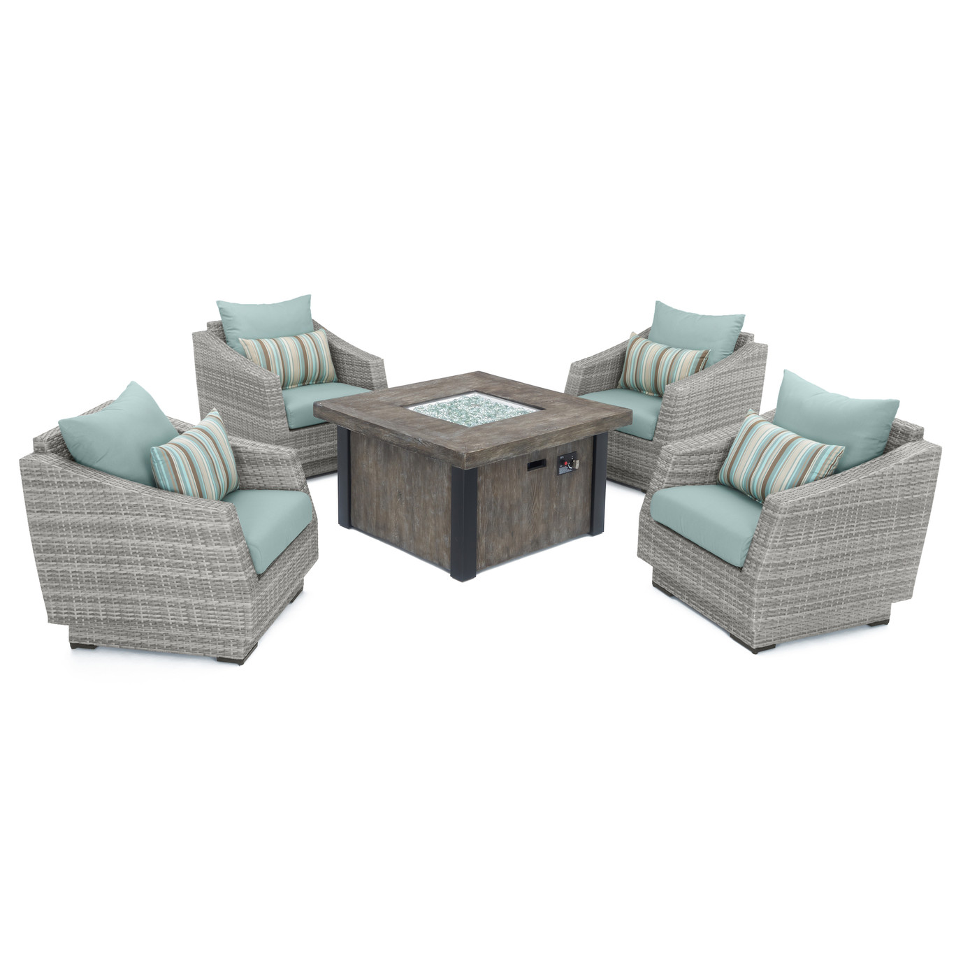 Cannes™ 5 Piece Fire Chat Set - Bliss Blue