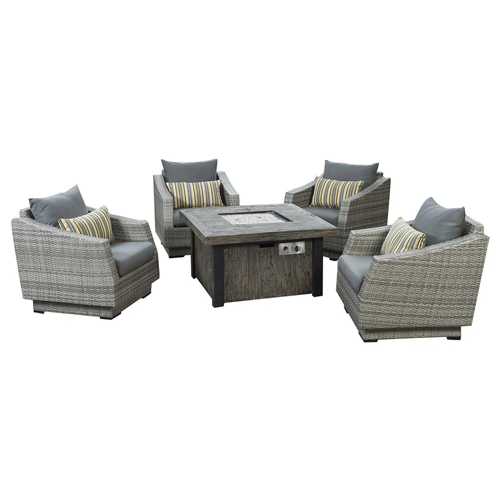 Cannes 5pc Fire Chat Set - Charcoal Grey