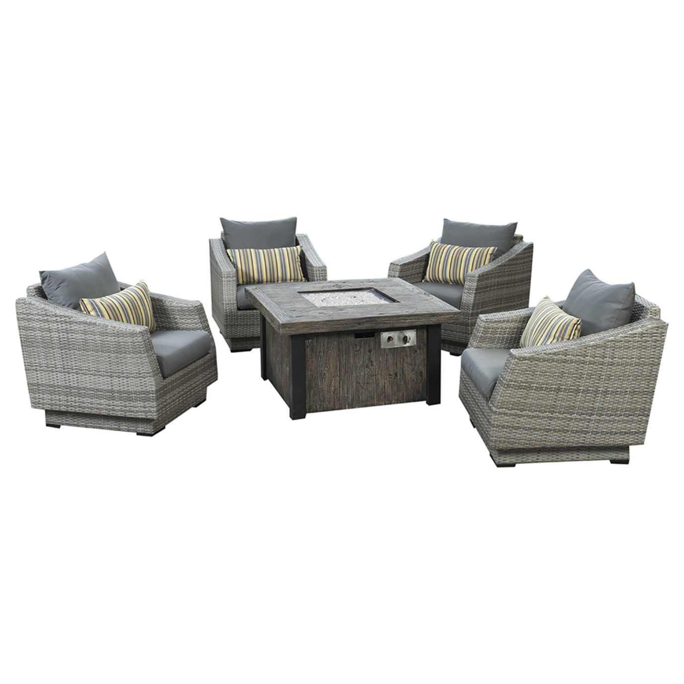 Cannes™ 5 Piece Fire Chat Set - Charcoal Gray
