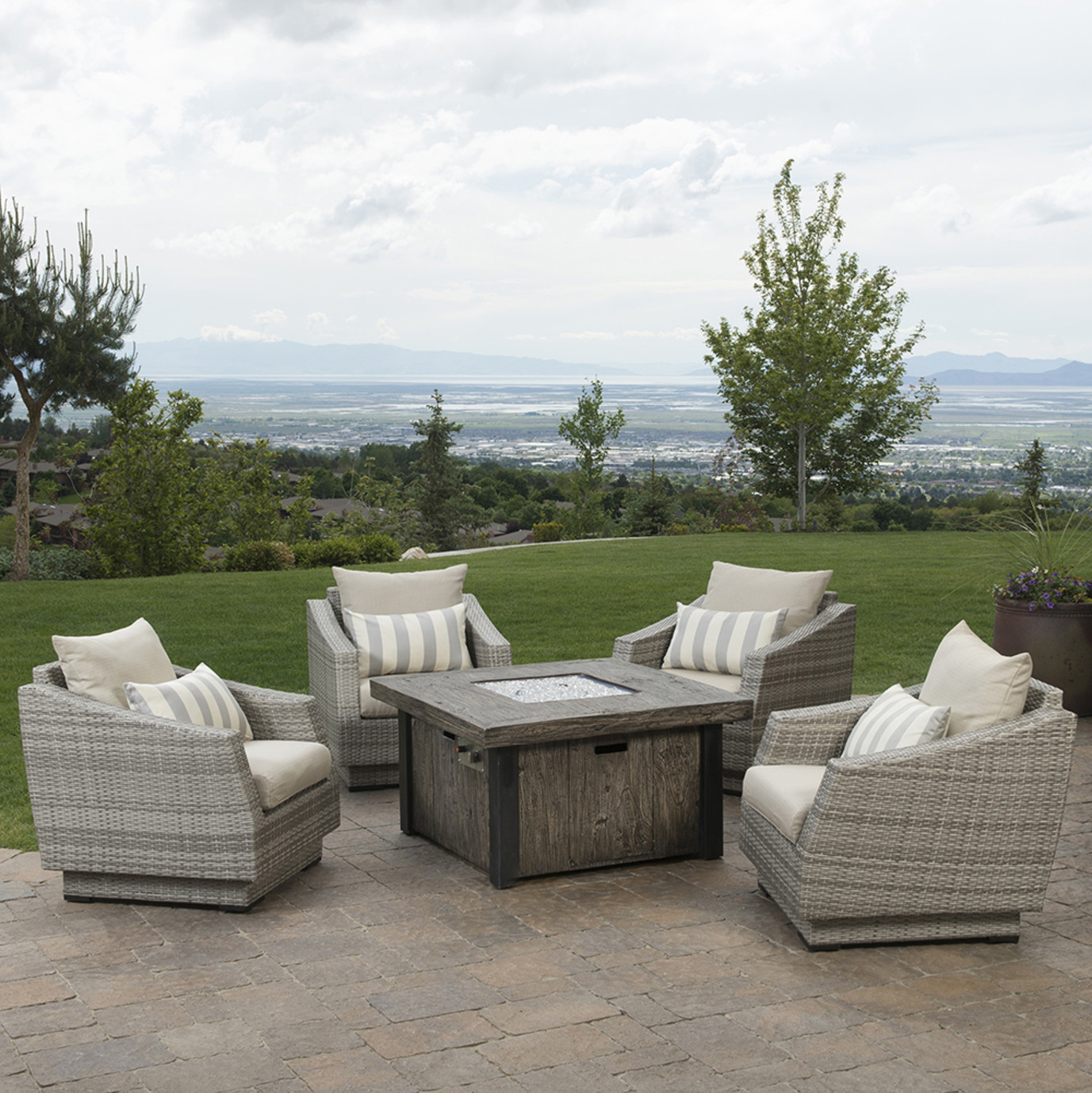 Cannes™ 5pc Fire Chat Set - Slate Grey