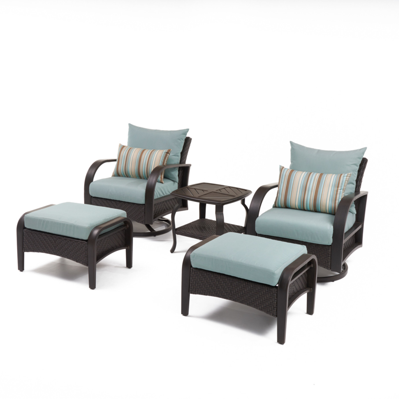 Barcelo™ 5pc Motion Club & Ottoman Set - Bliss Blue