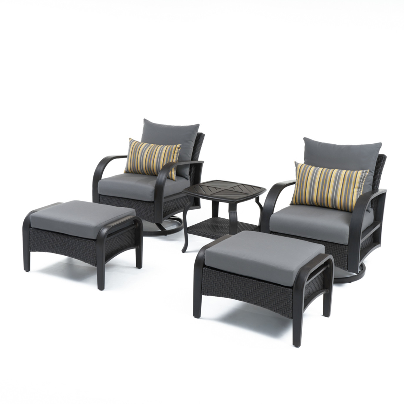 Barcelo™ 5pc Motion Club & Ottoman Set - Charcoal Grey