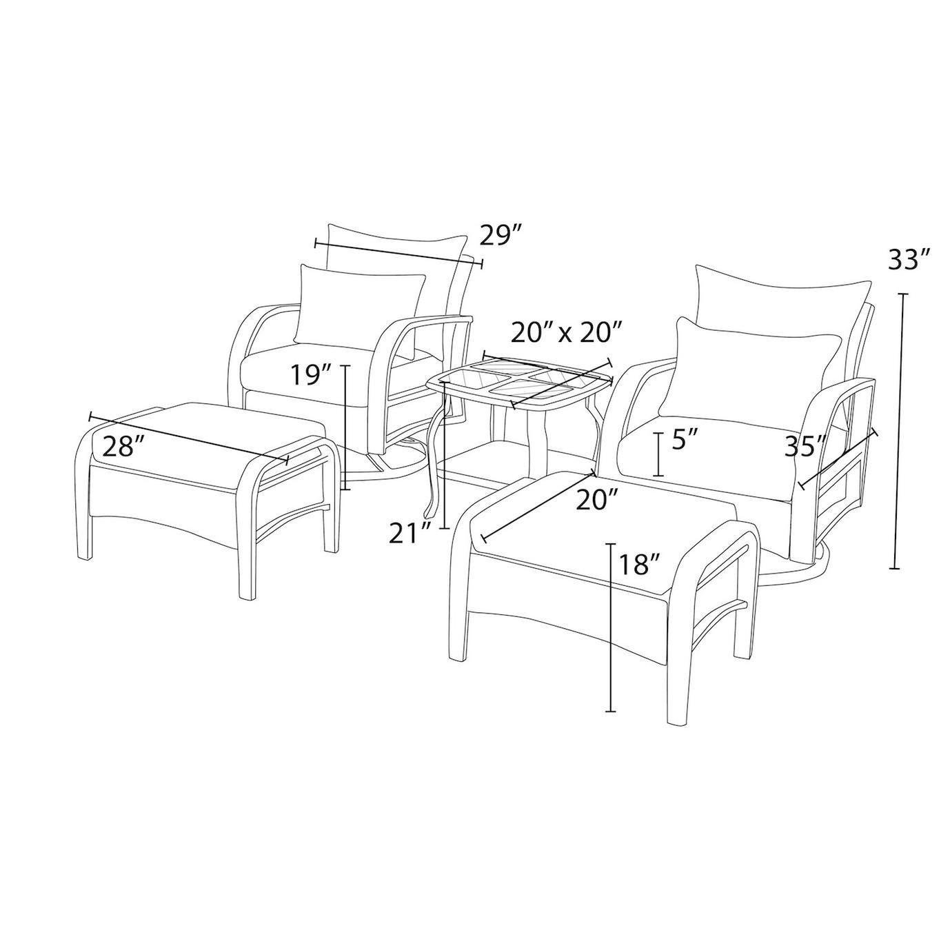 Barcelo™ 5pc Motion Club Chair & Ottoman Set - Spa Blue