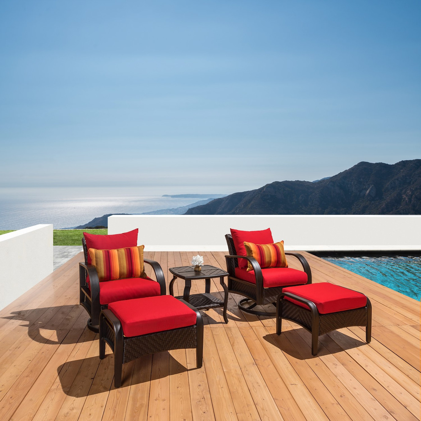 Barcelo™ 5pc Motion Club & Ottoman Set - Sunset Red