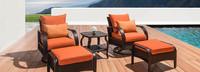 Barcelo™ 5 Piece Motion Club & Ottoman Set - Tikka Orange