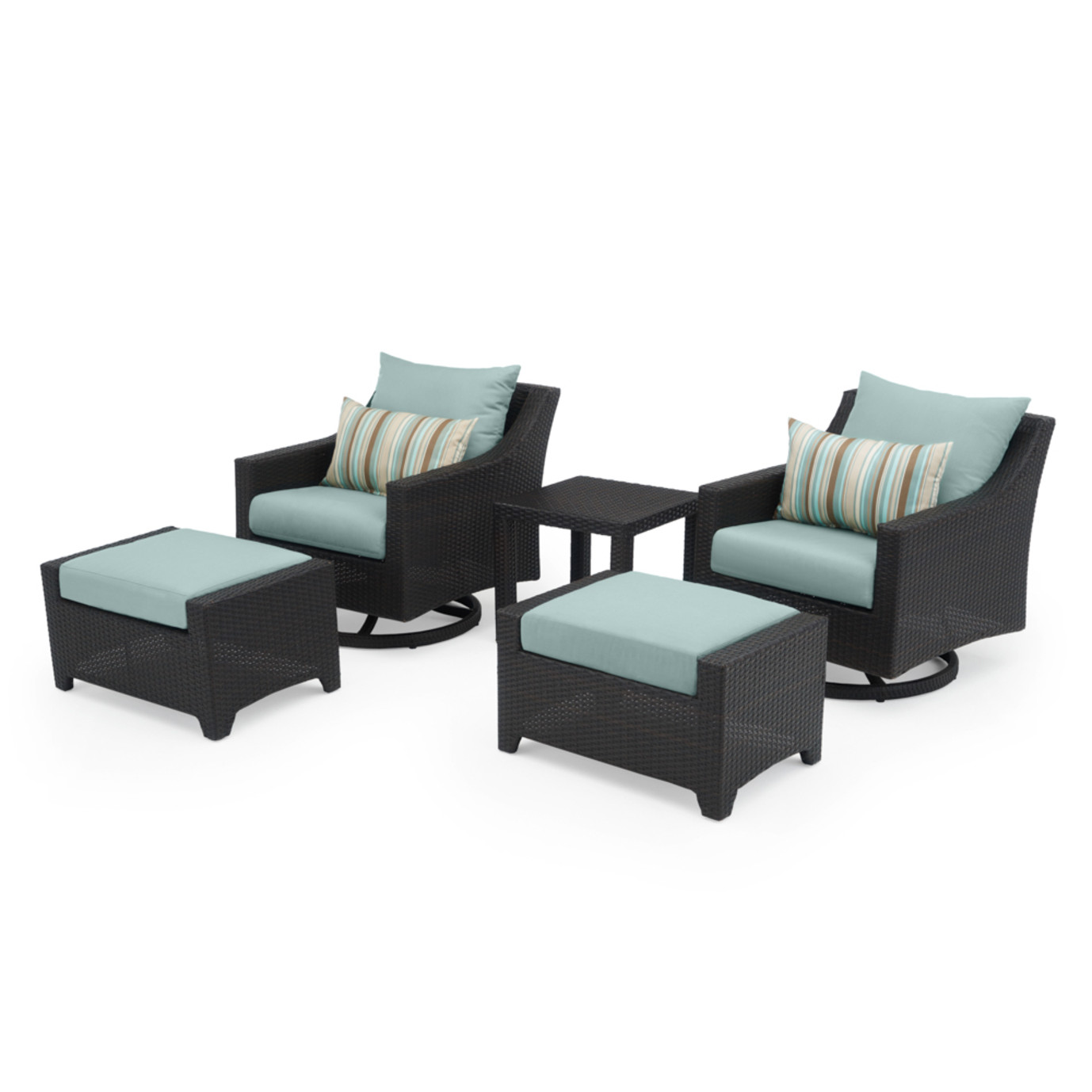 Deco™ 5 Piece Motion Club & Ottoman Set - Bliss Blue