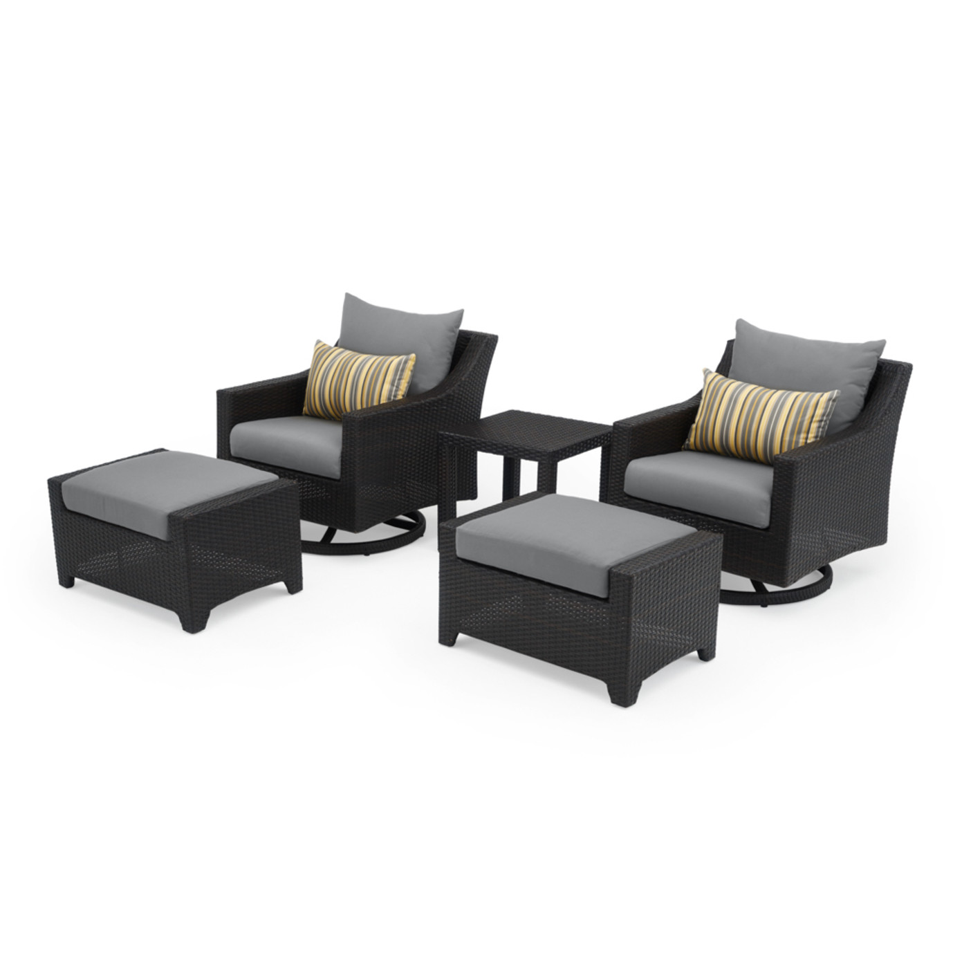 Deco 5 Piece Motion Club & Ottoman Set - Charcoal Gray