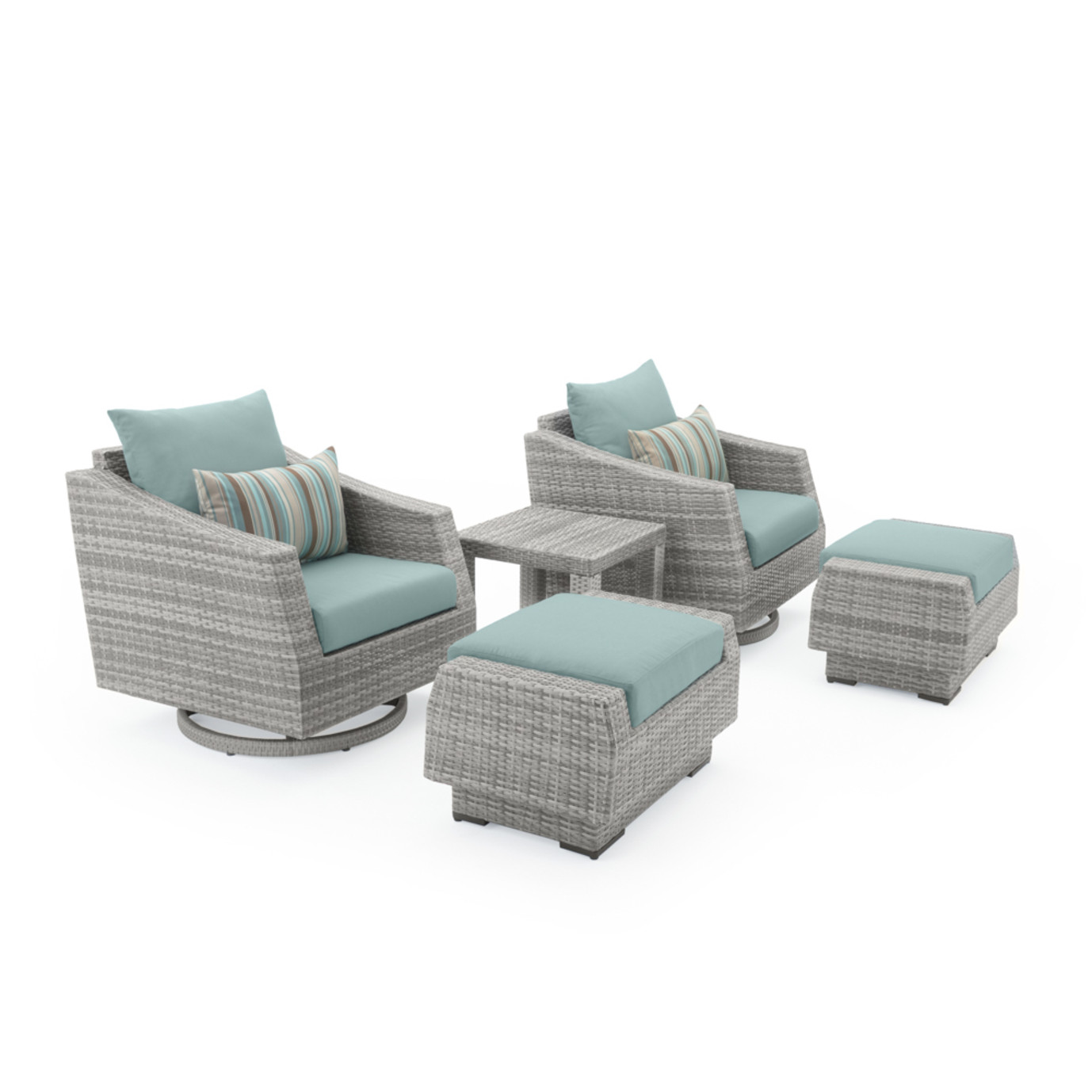 Cannes 5pc Motion Club Chair & Ottoman Set - Bliss Blue