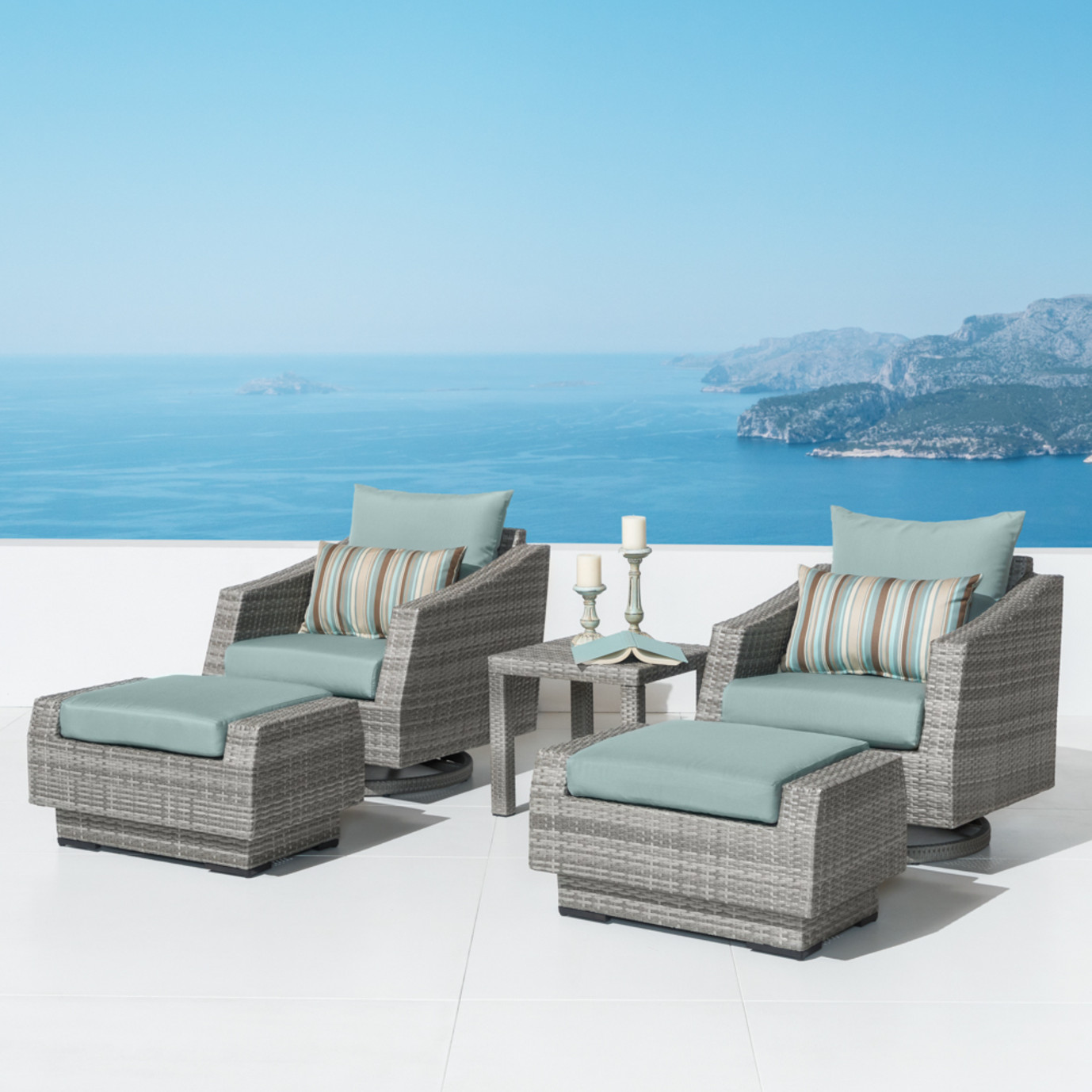 Cannes 5 Piece Motion Club Chair & Ottoman Set - Bliss Blue