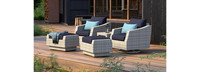Cannes™ 5 Piece Motion Club Chair & Ottoman Set - Charcoal Gray