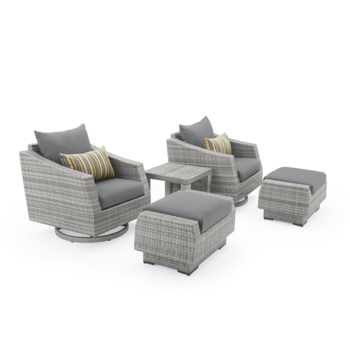 Cannes 5 Piece Motion Club Chair & Ottoman Set - Charcoal Gray