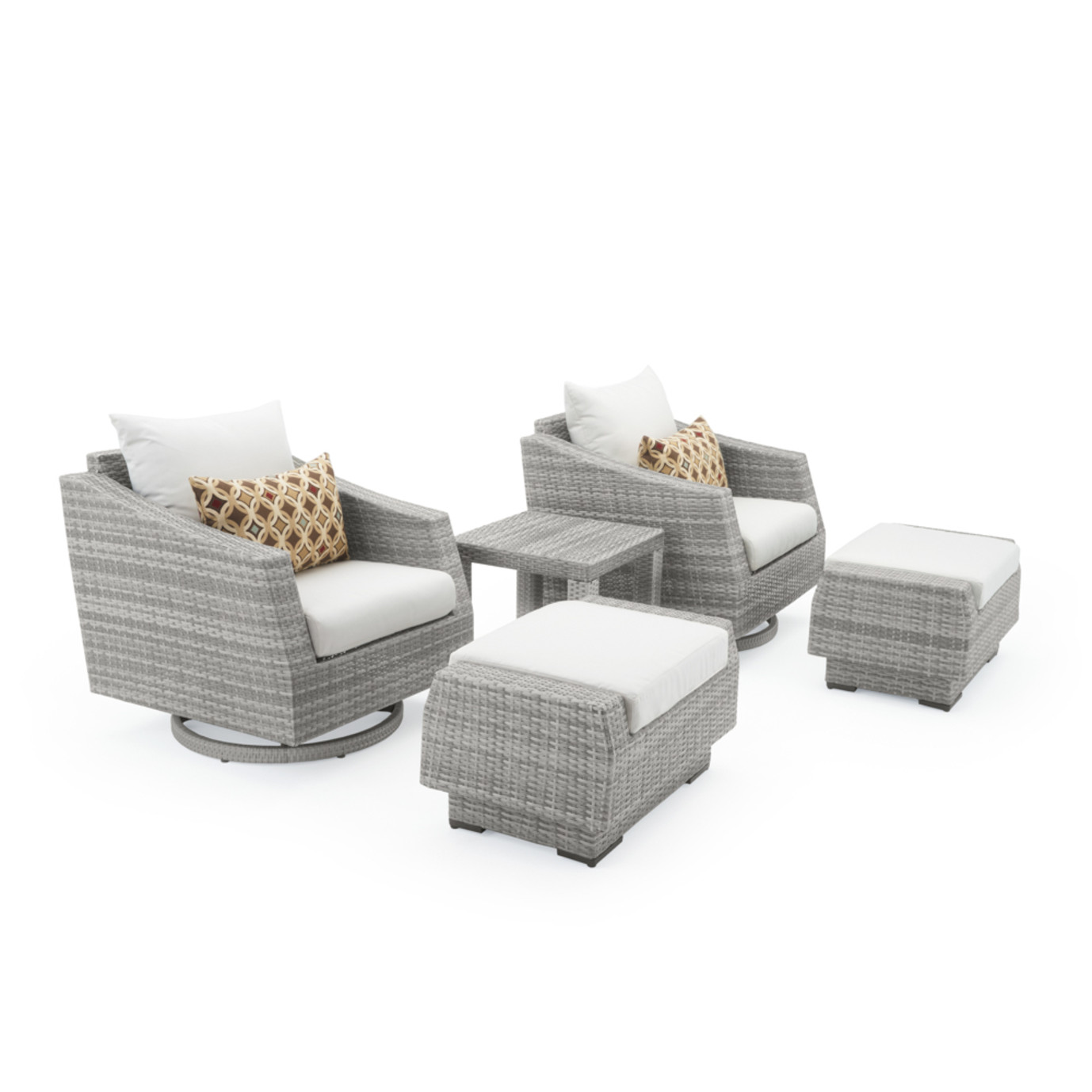 Cannes 5 Piece Motion Club Chair & Ottoman Set - Moroccan Cream