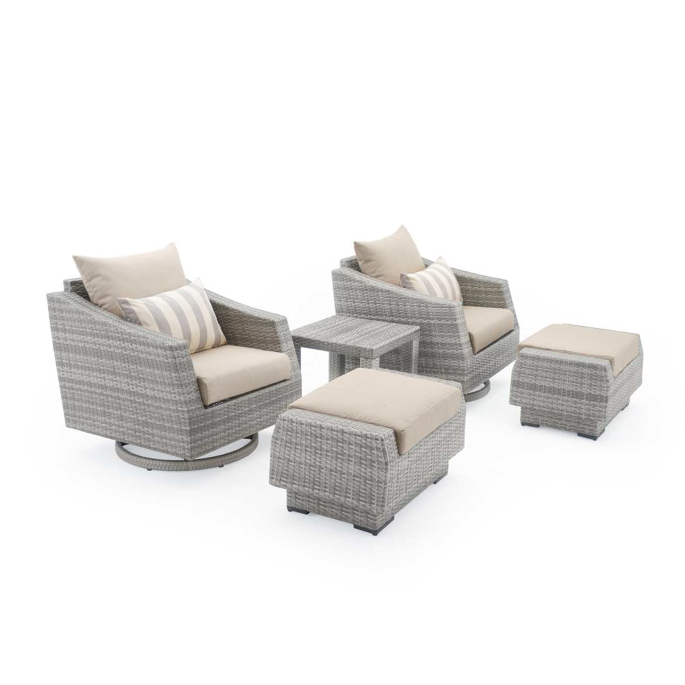 Cannes 5 Piece Motion Club Chair & Ottoman Set - Slate Gray