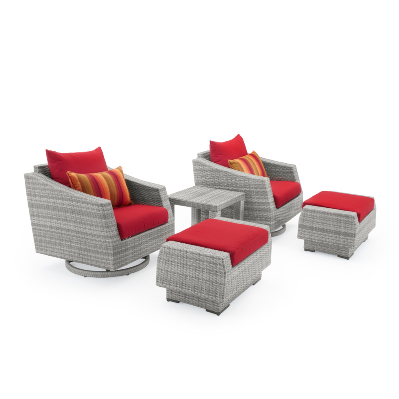 Cannes 5 Piece Motion Club Chair & Ottoman Set - Sunset Red