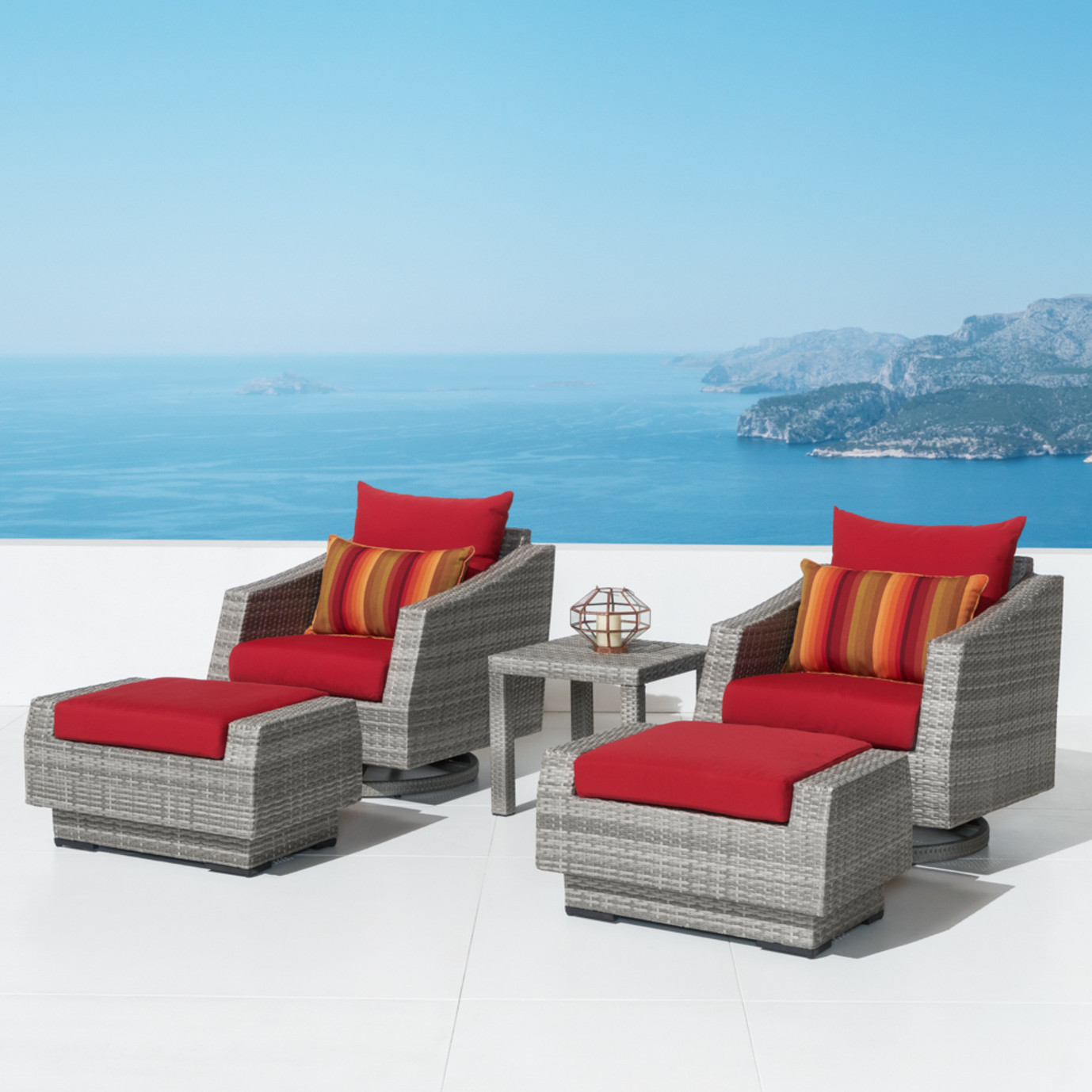 Cannes 5pc Motion Club Chair & Ottoman Set - Sunset Red