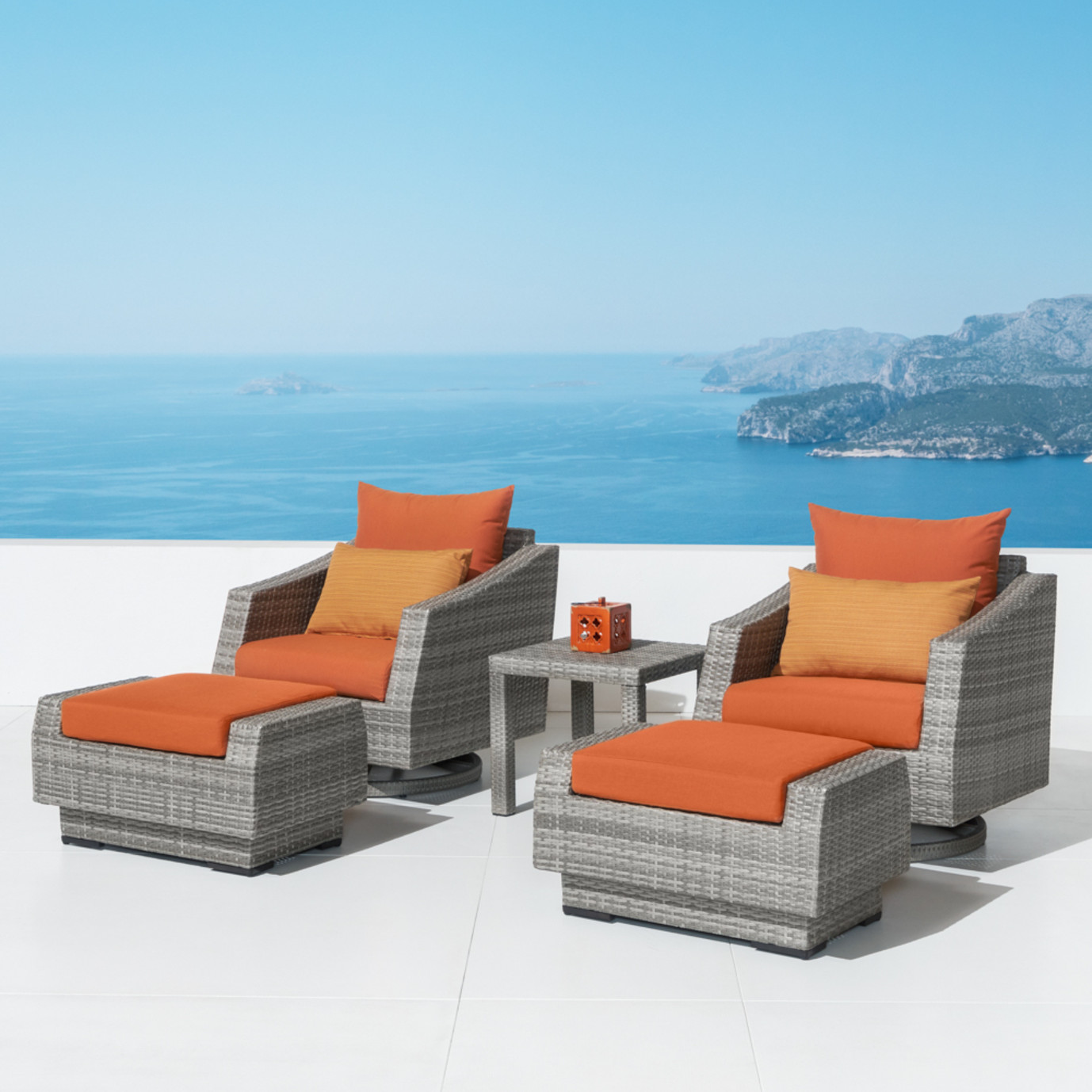 Cannes 5 Piece Motion Club Chair & Ottoman Set - Tikka Orange