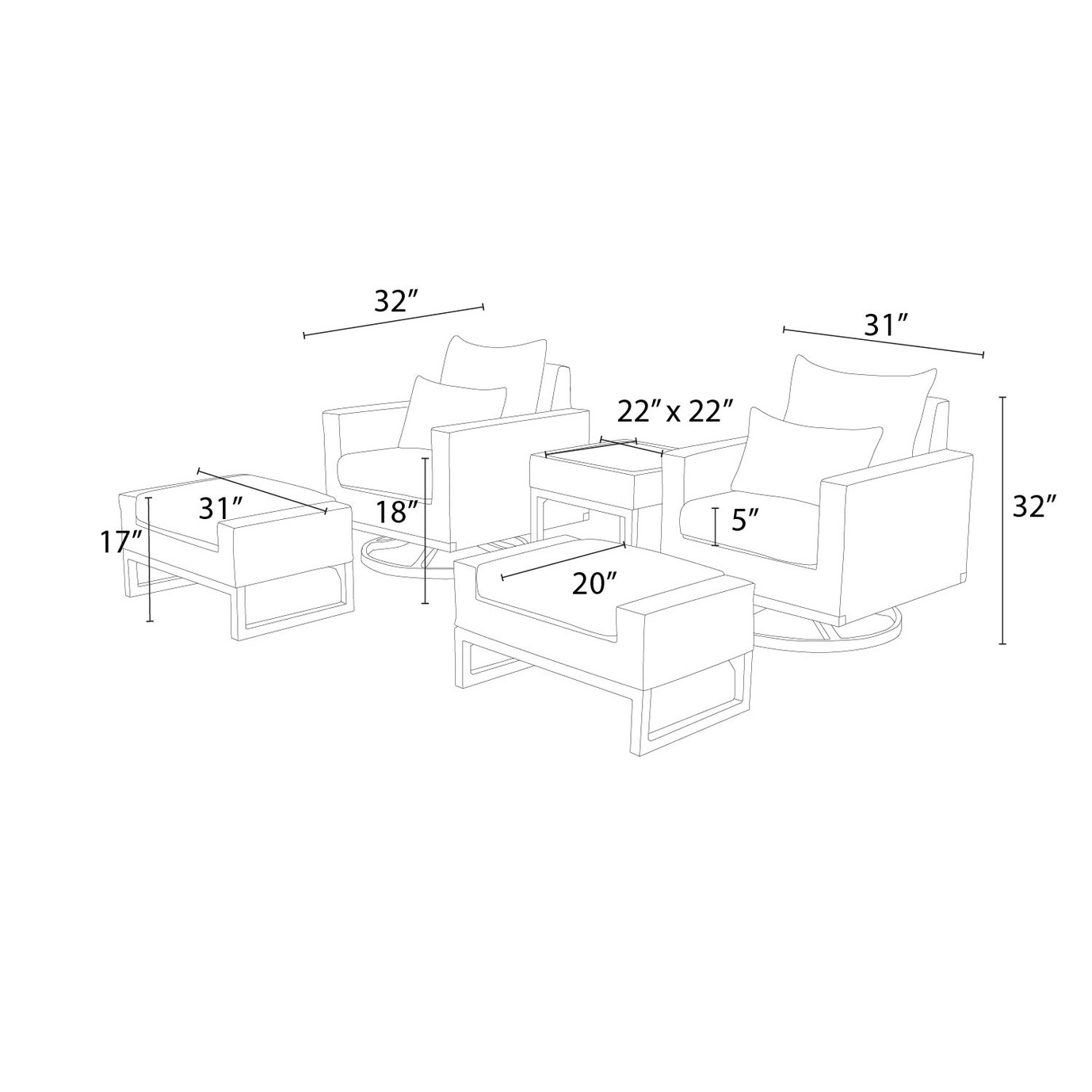 Milo™ Espresso 5 Piece Motion Club Set - Slate Gray
