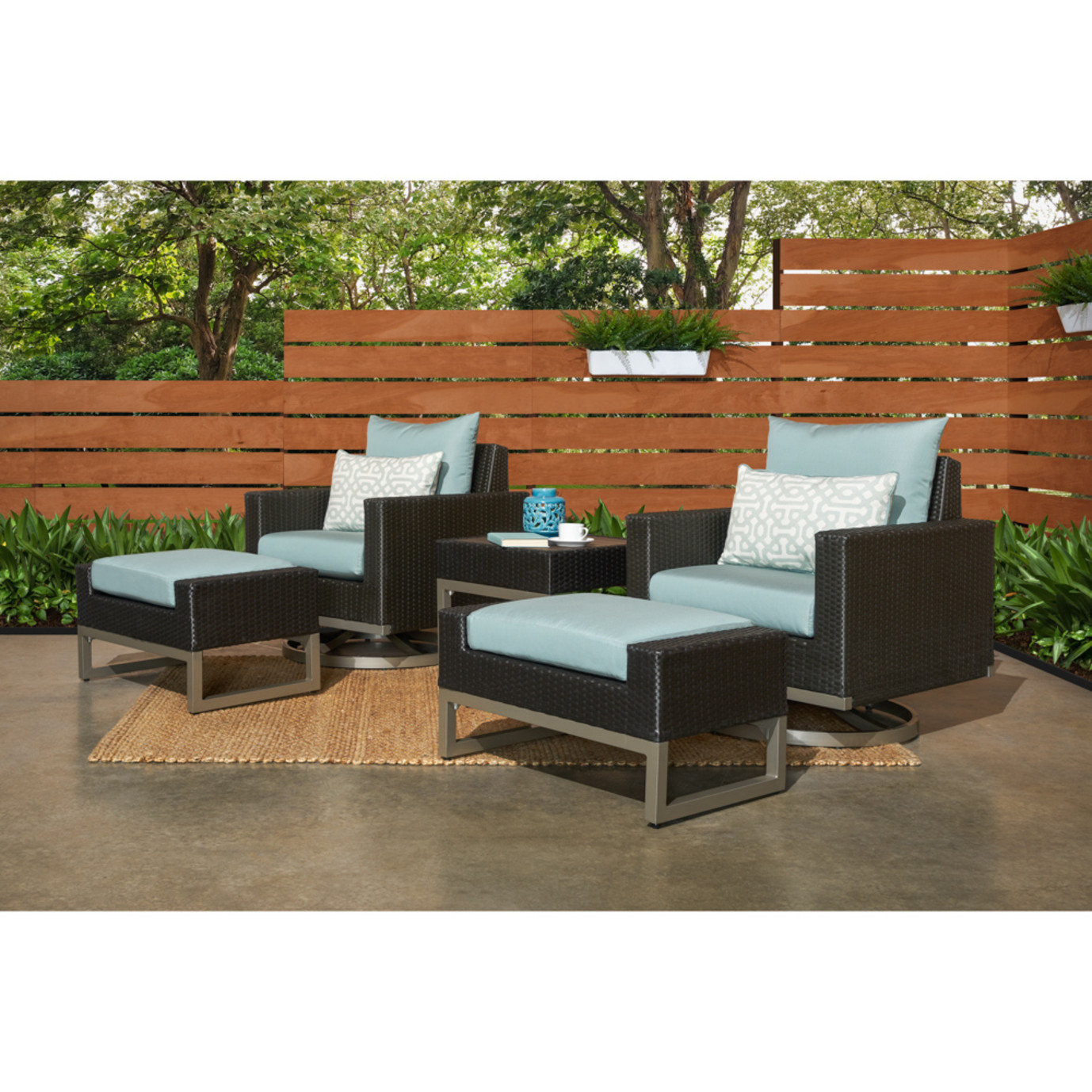 Milo™ Espresso 5 Piece Motion Club Set - Spa Blue