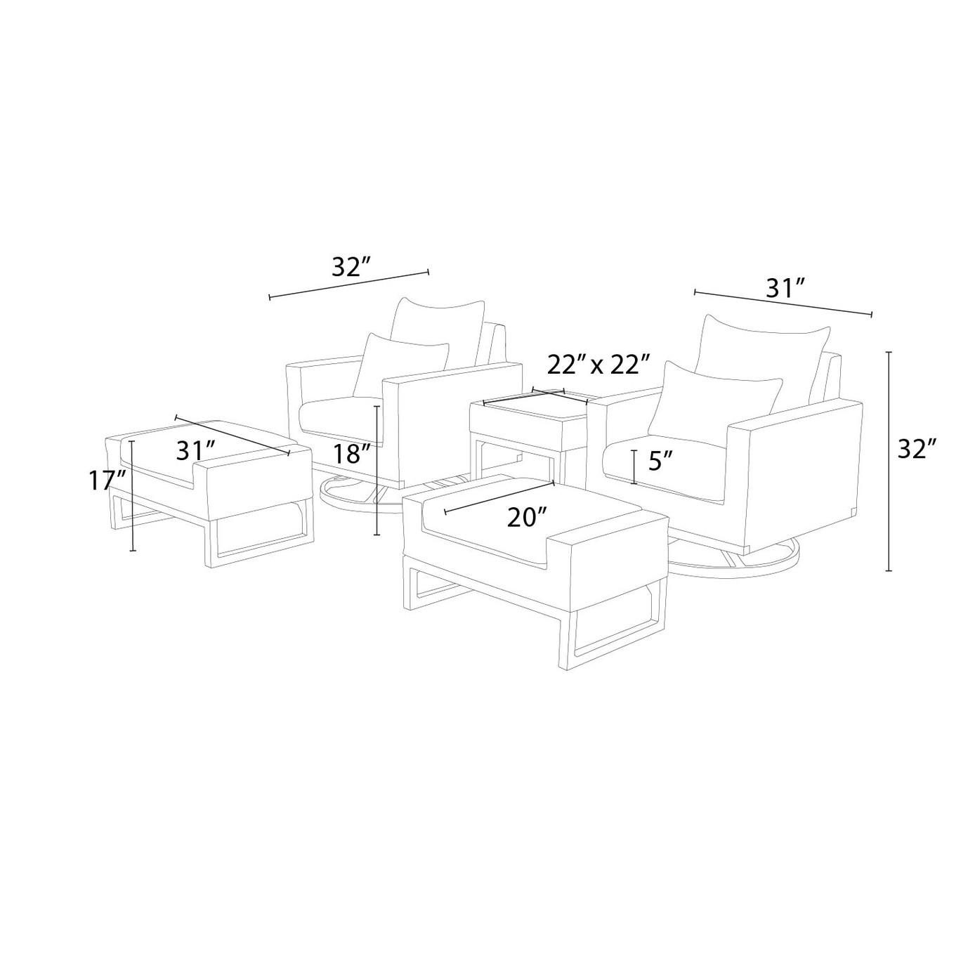 Milo™ Gray 5pc Motion Club Set - Maxim Beige