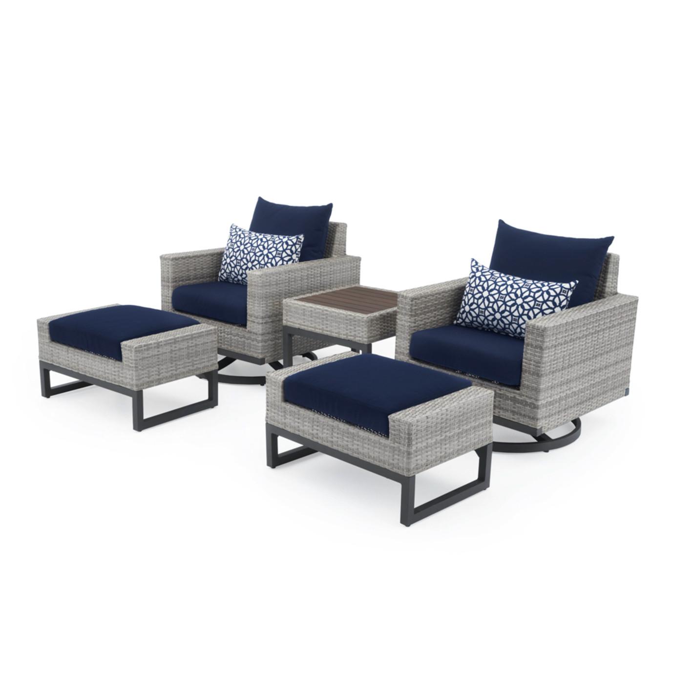 Milo™ Gray 5pc Motion Club Chair Set - Navy Blue