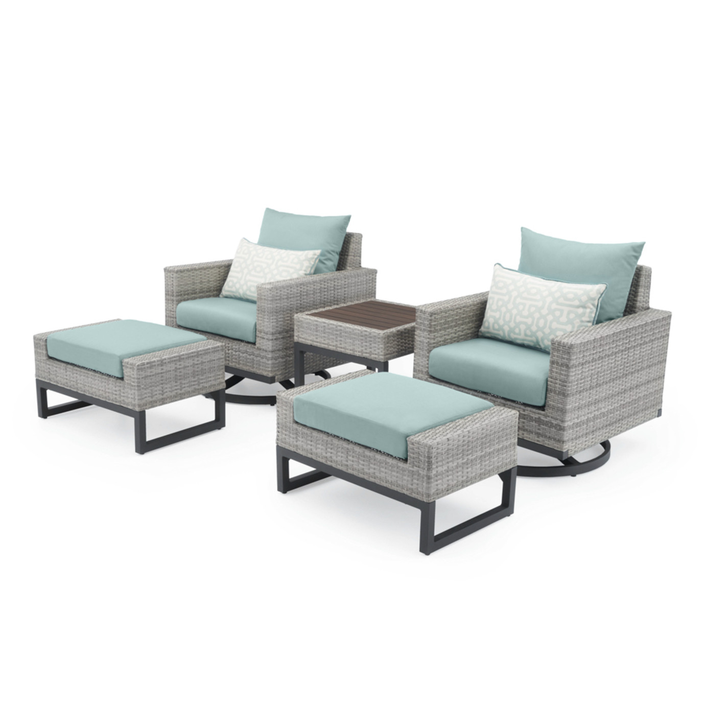 Milo™ Gray 5 Piece Motion Club Set - Spa Blue