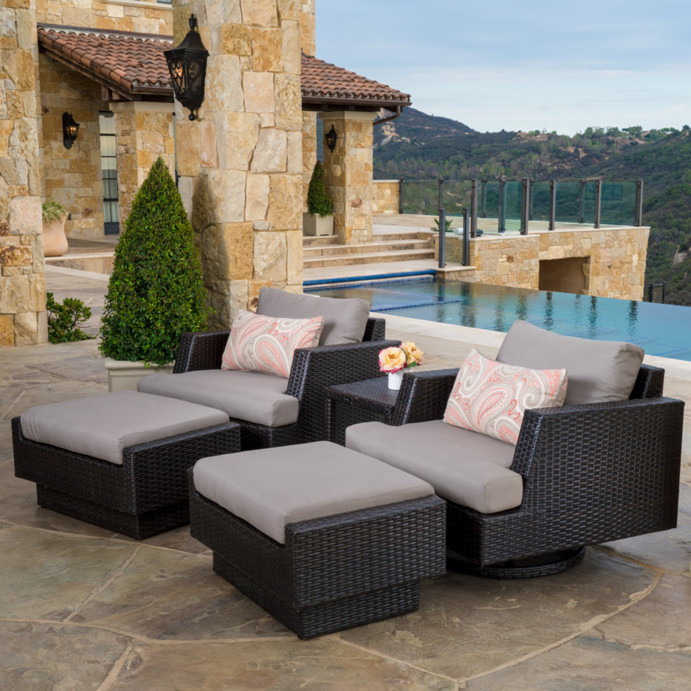 Portofino™ Comfort 5pc Motion Club Chair Seating Set - Espresso ...