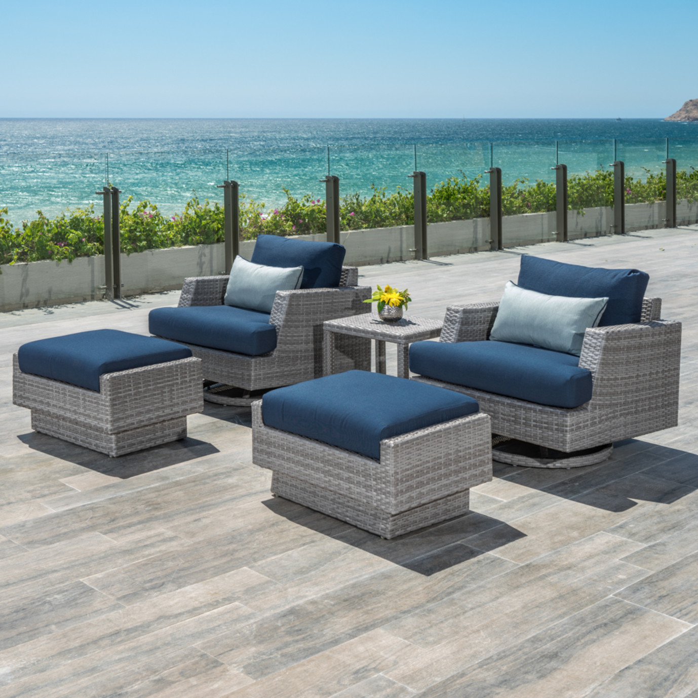 Portofino Comfort 5pc Motion Club Chair Set Laguna Blue