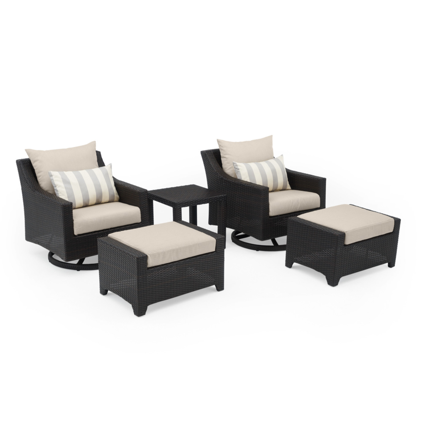 Deco 5 Piece Motion Club & Ottoman Set - Slate Gray