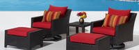 Deco™ 5 Piece Motion Club & Ottoman Set - Sunset Red